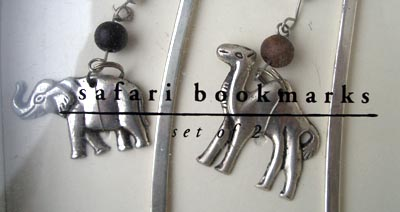 two metal bookmarks with animal charms