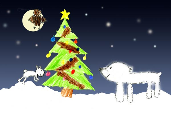 A picture, drawn by Marianne, of animals in a forest looking at a Christmas tree